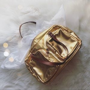 Melie Bianco Metallic Gold Handbag Purse